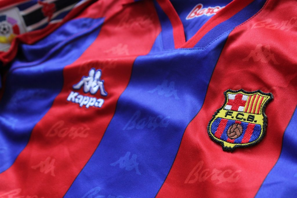 Close up of an FC Barcelona jersey.