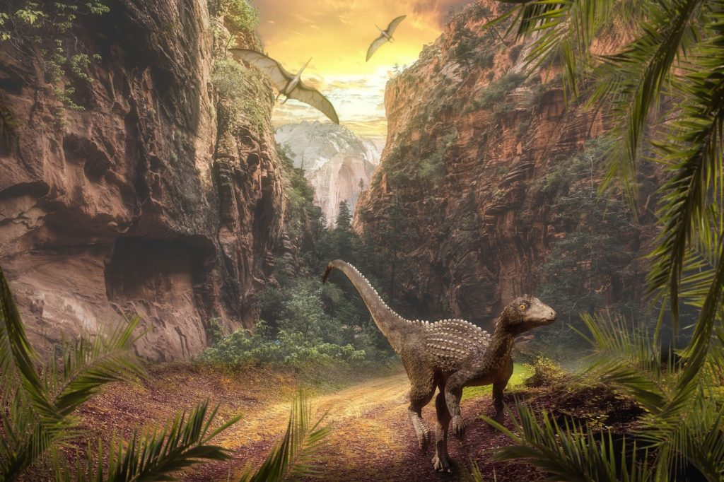 Illustration of dinosaurs in the wild