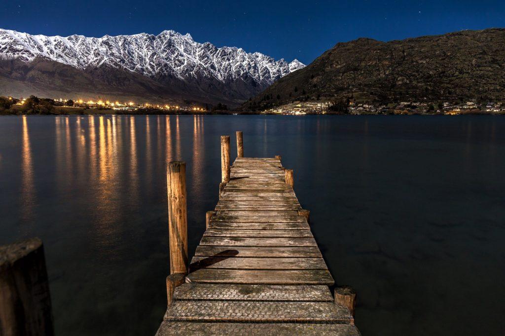 New Zealand pier at night.