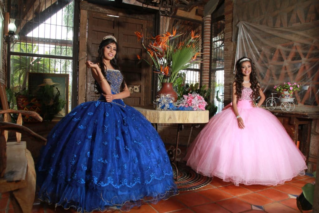 Two girls celebrating a quinceanera.