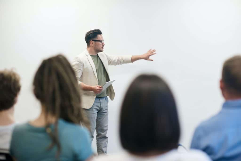 Man giving a presentation.
