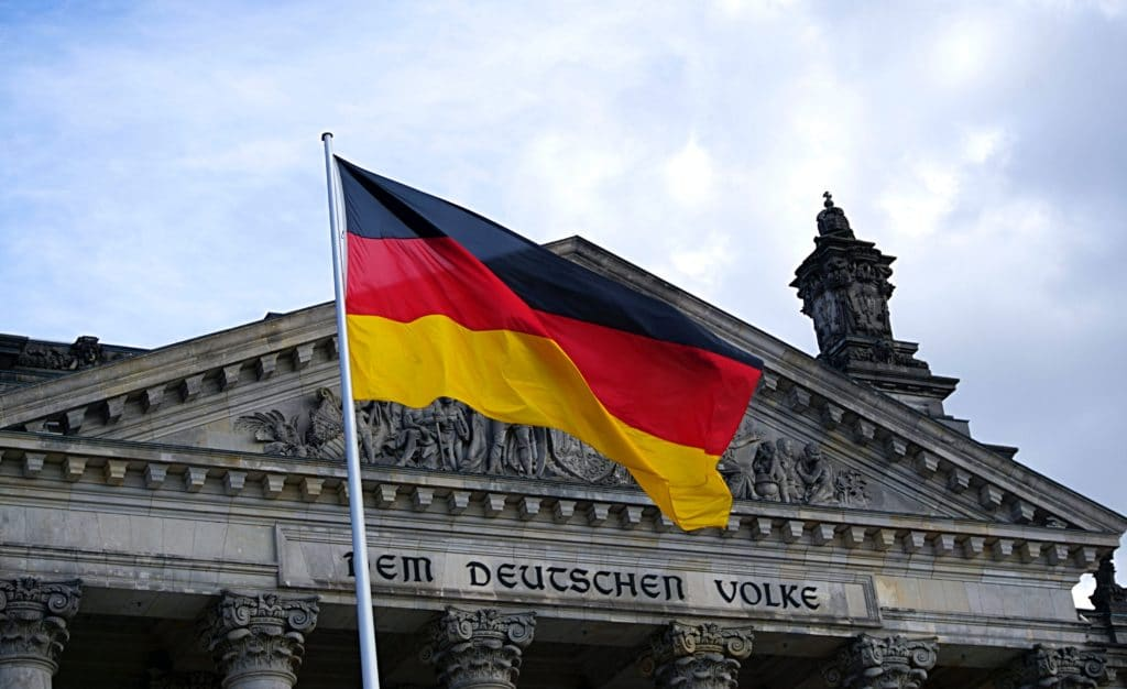 German flag in front of a building.