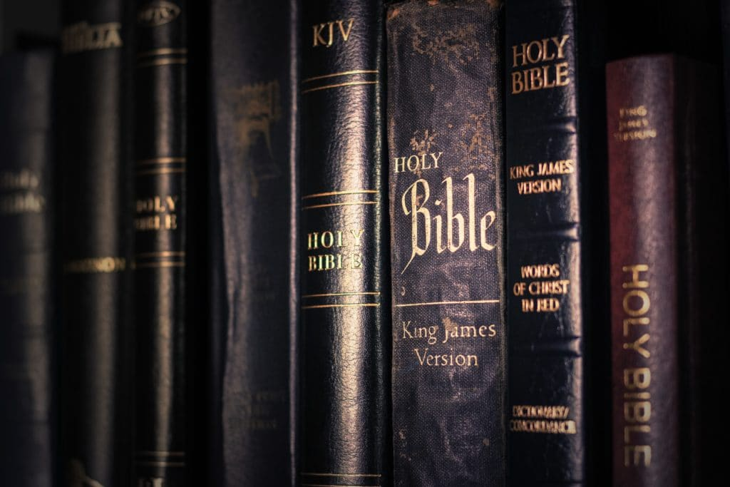 Close up on a shelf of Bibles