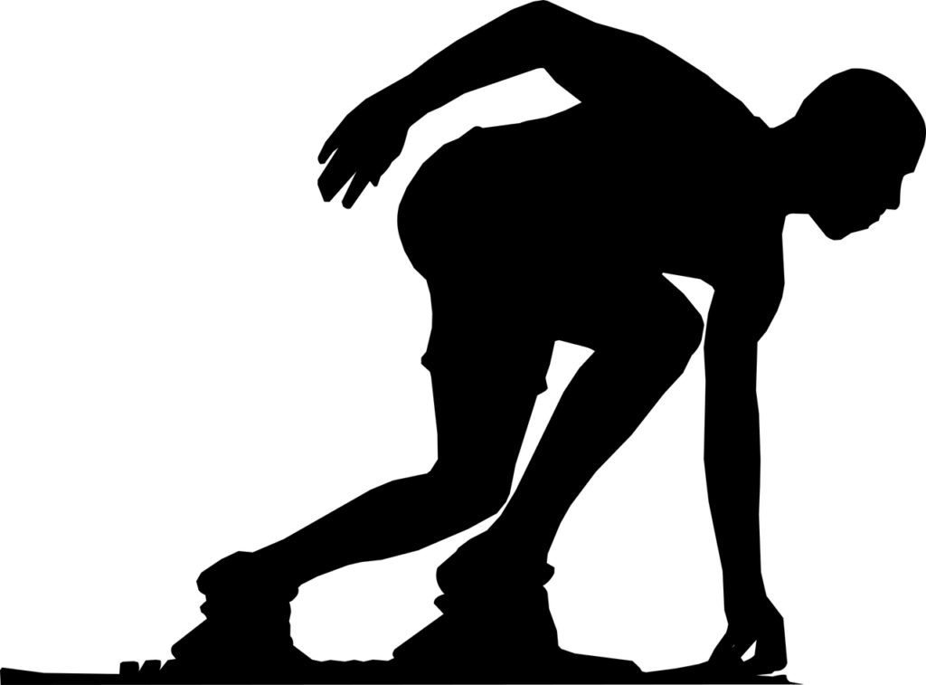 Silhouette drawing of a runner in the starting position.
