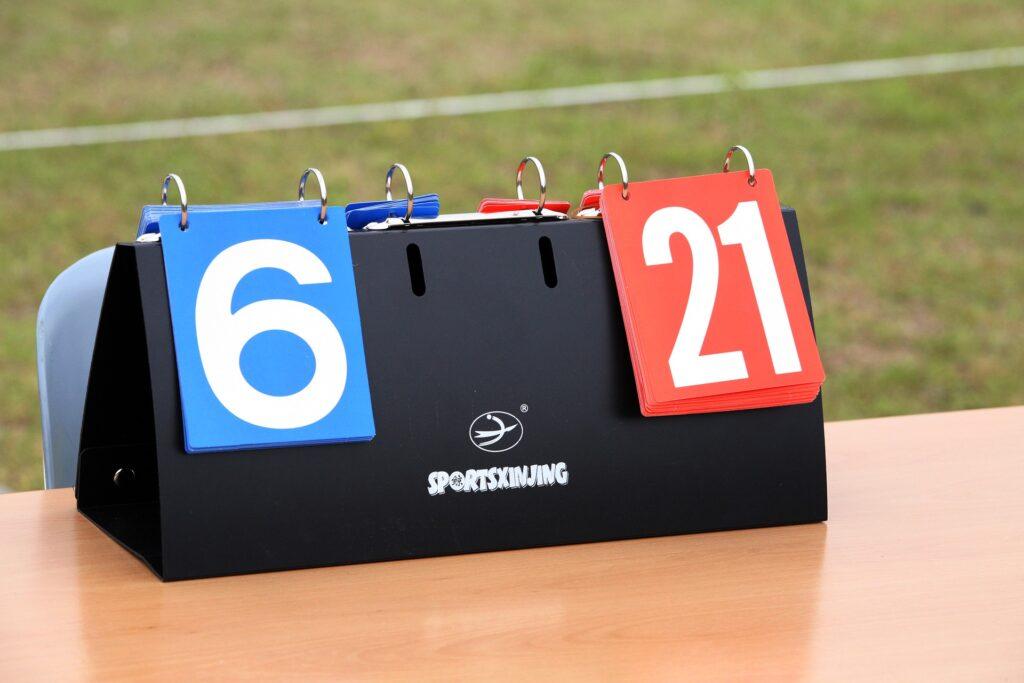 Scoreboard score count.