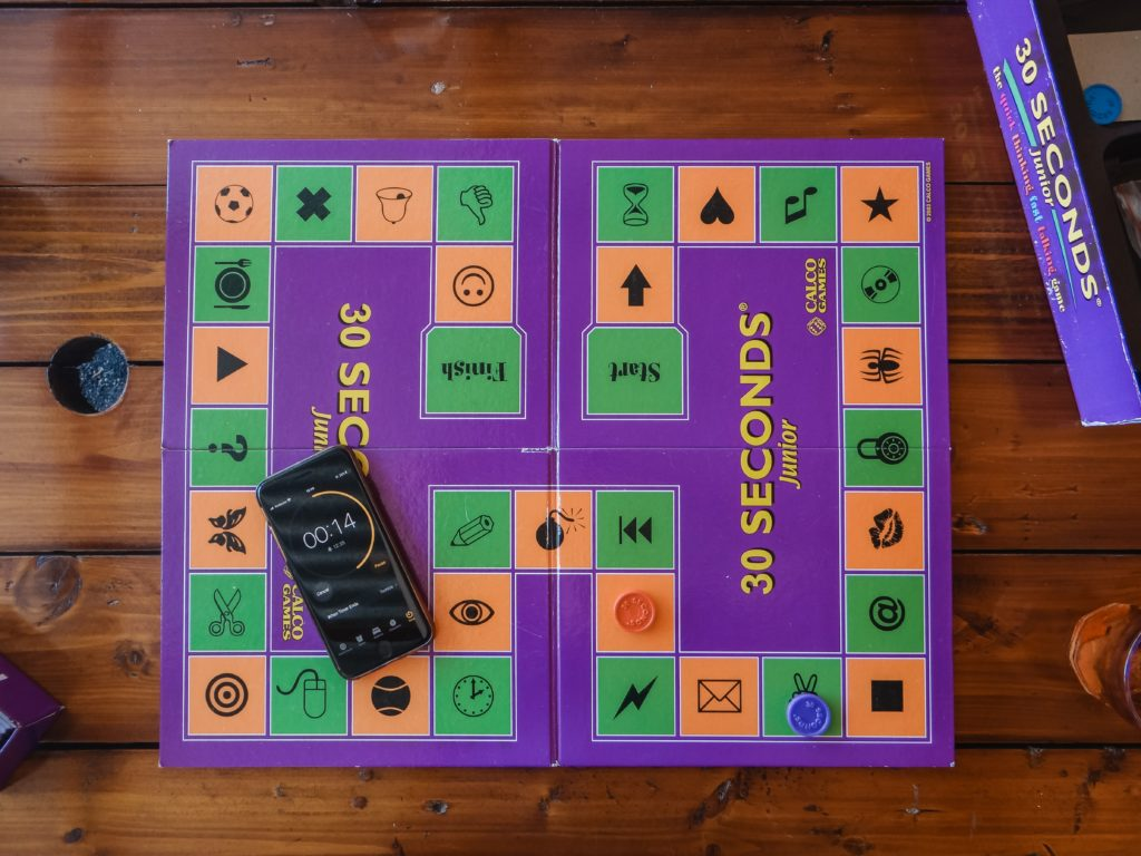 """Purple game board that reads """"30 seconds"""""""