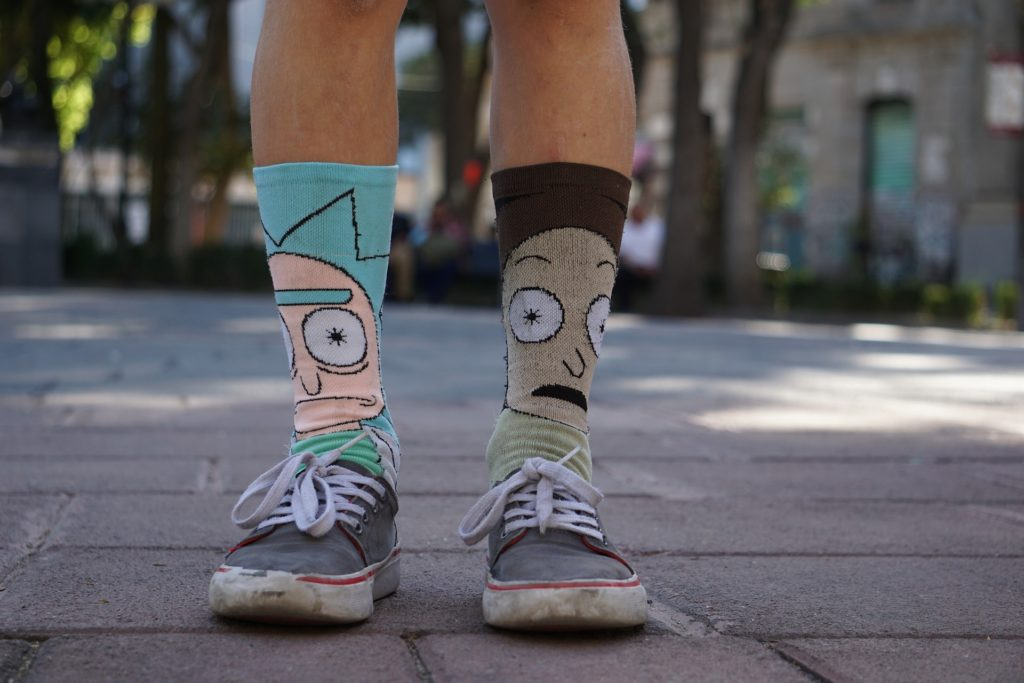 Person wearing Rick and Morty socks.