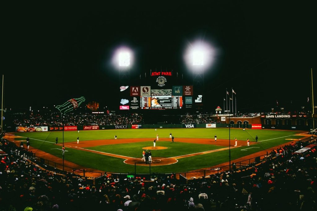 Overhead shot of AT&T Park at night during a baseball game.