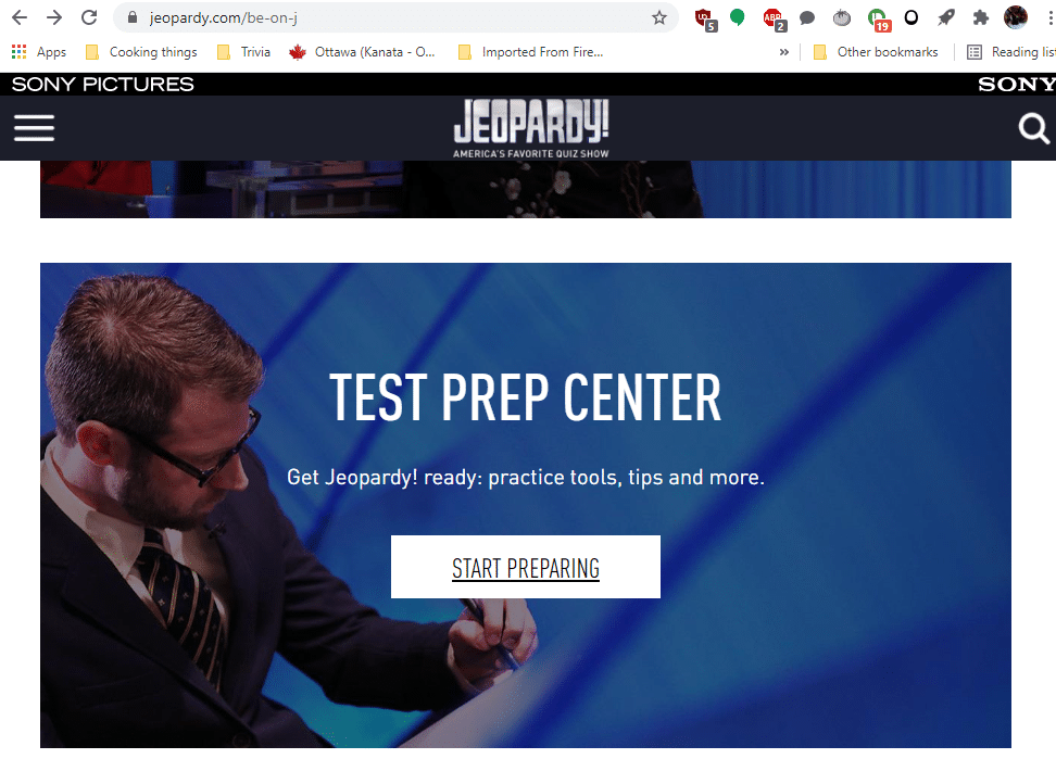 Fig 1. Screenshot taken by Megan McLeod from the website Jeopardy.com, Sony Pictures, 2021