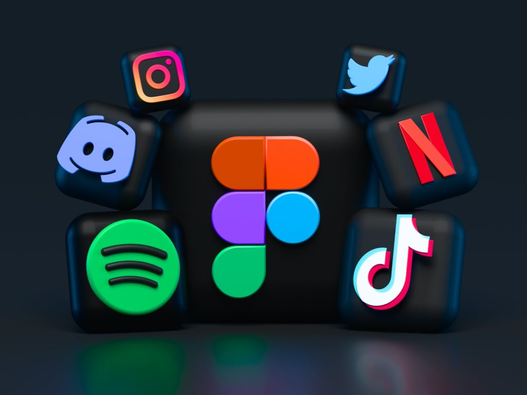 Various dark mode icons for websites and social media apps.