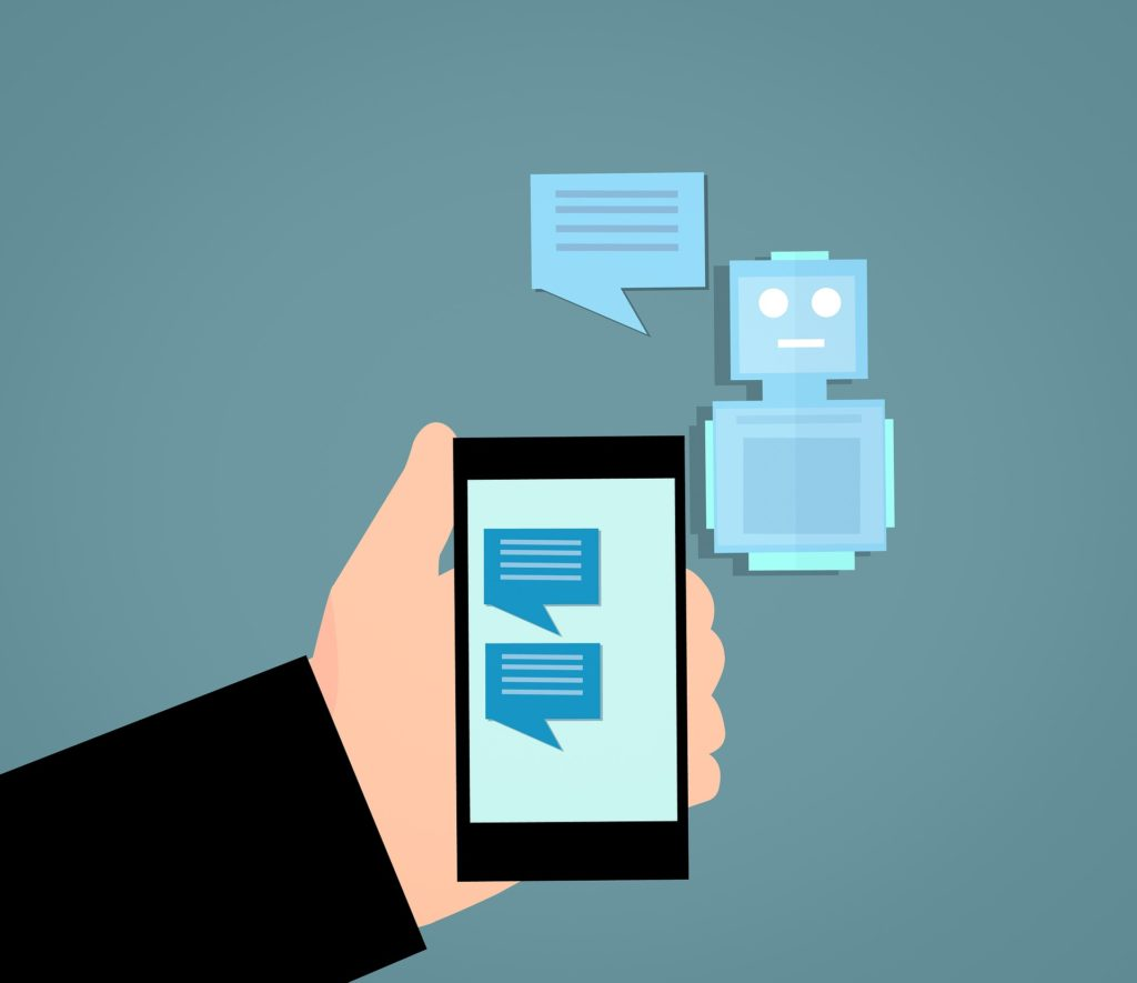 Illustration of a person holding a phone with messages and a chat bot next to it.