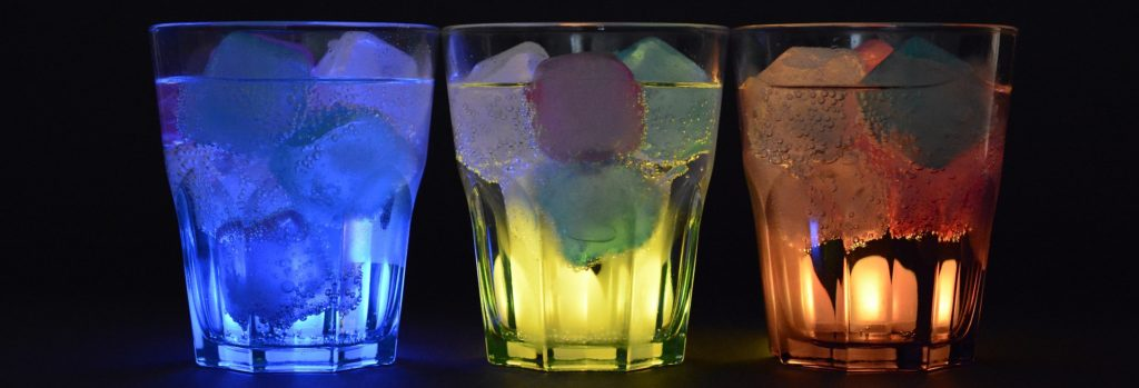 Colorful cocktails in glasses.