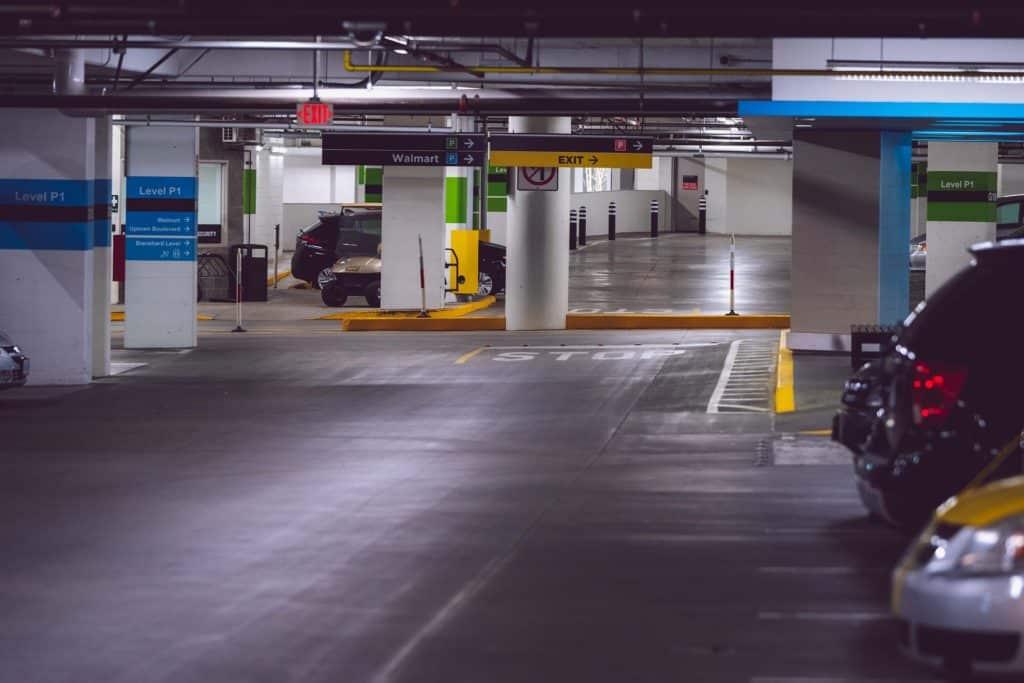 Indoor Walmart parking lot.
