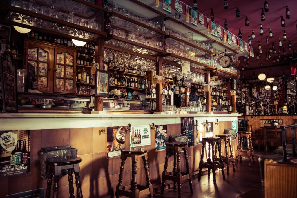 Interior of a bar with wooden paneling and wooden stools.