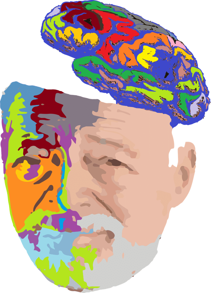 Illustration of an older man and his brain
