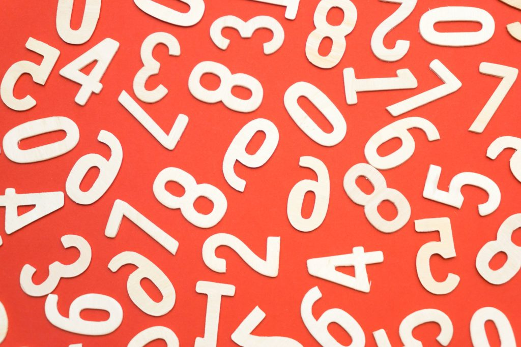 White numbers on a red background.