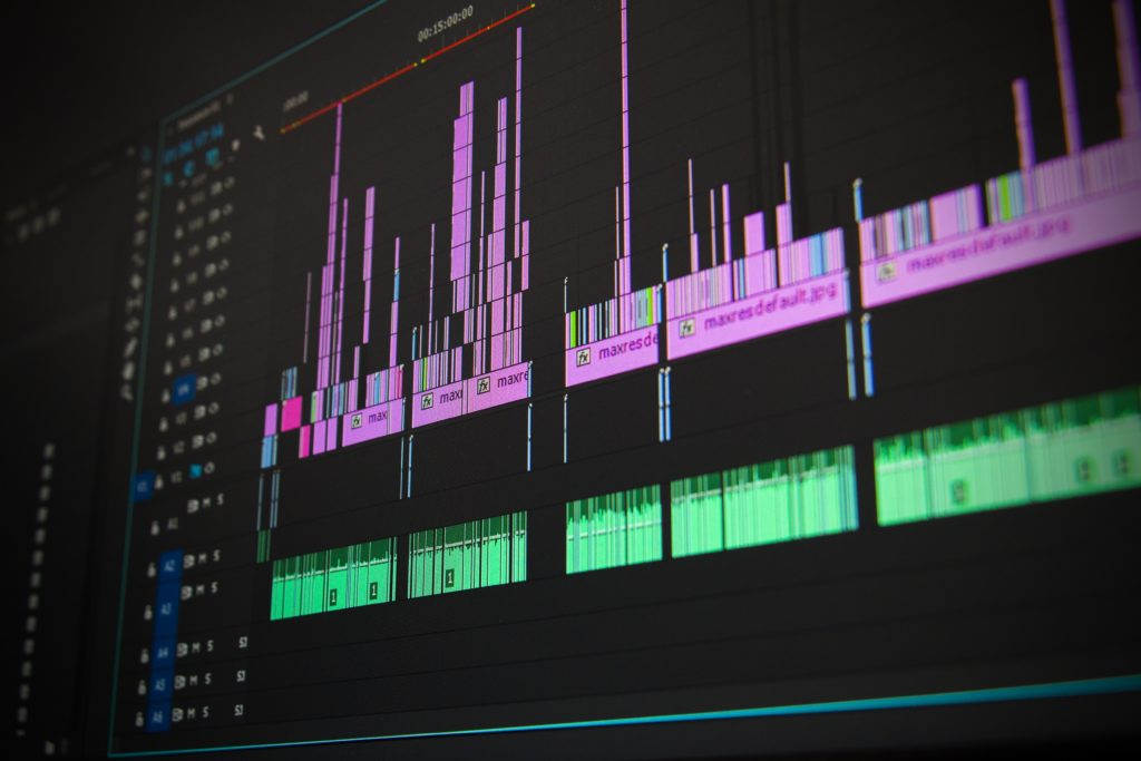 Audio levels on a computer.