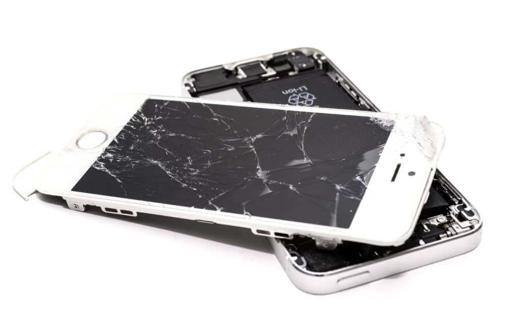 A broken white iPhone