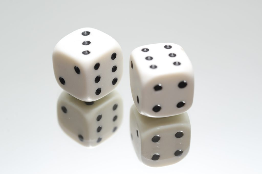 Close up of a traditional pair of dice