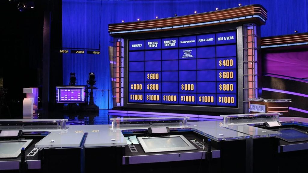 Contestants' view of the Jeopardy board.