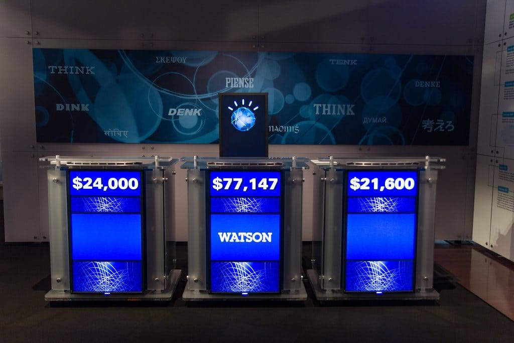 Jeopardy! podiums featuring A.I. winner Watson.