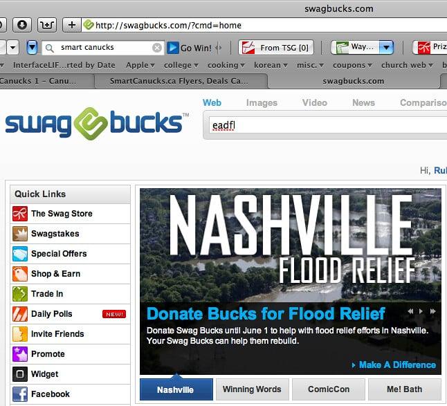 Classic Swagbucks.com homepage