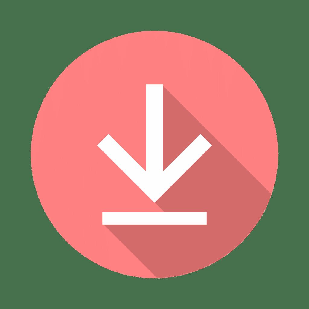 Red and white circular download symbol.