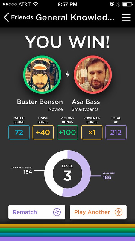Example of a winner screen during a head-to-head match in QuizUp