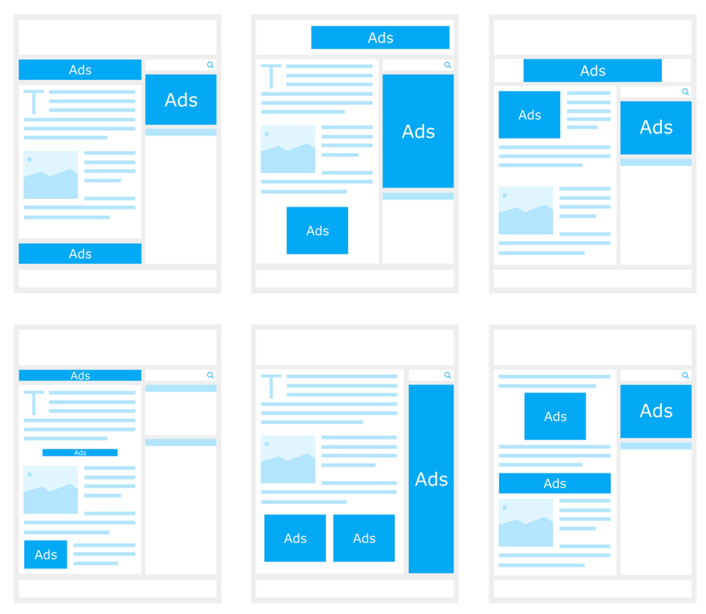 Layouts for ads on websites