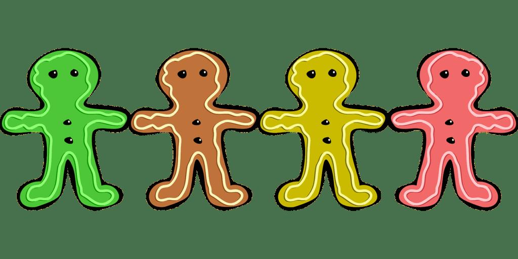 Drawing of various colorful gingerbread men cookies.