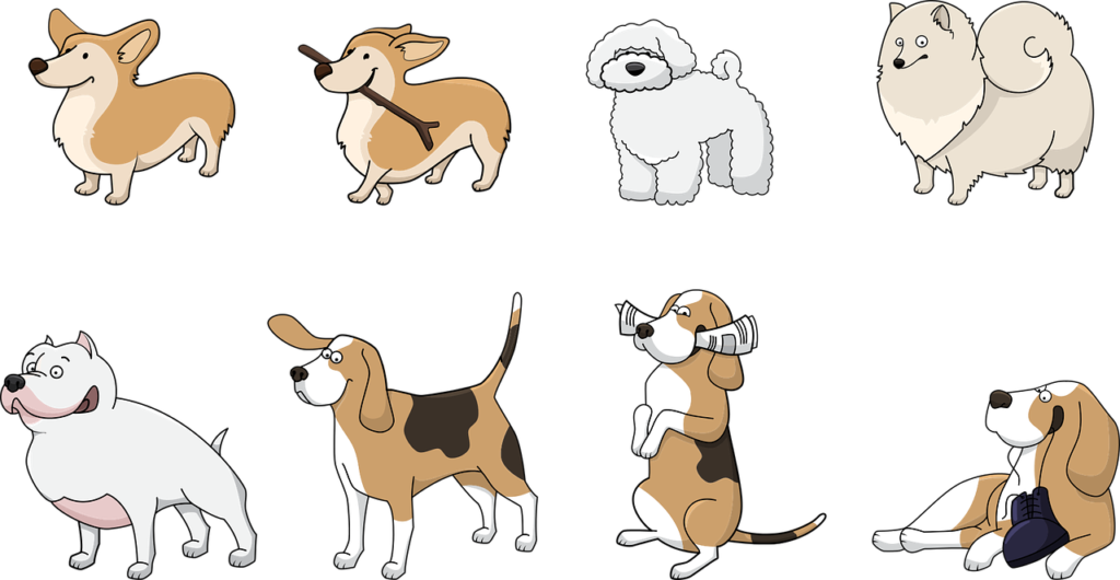 Illustrations of various kinds of dogs.
