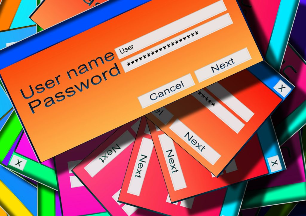 Colorful boxes displaying user names and password prompts.