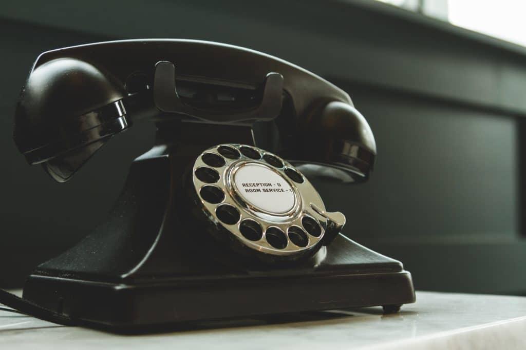 Retro black telephone.