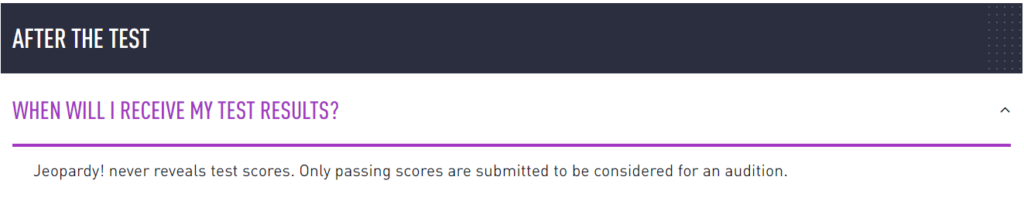 FAQ about receiving test results from Jeopardy.com