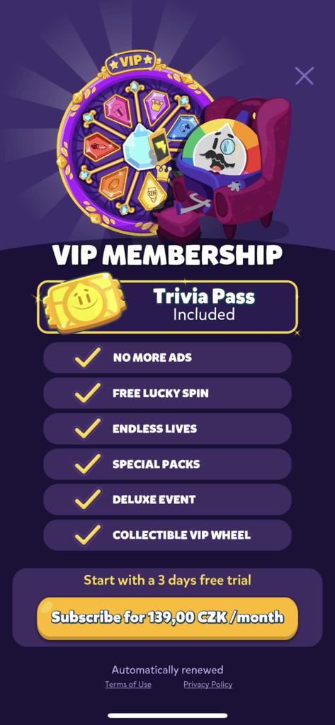 Fig. 3, VIP Membership screenshot captured by Anastasia Voloshina, from the Trivia Crack app, Etermax, 2021.