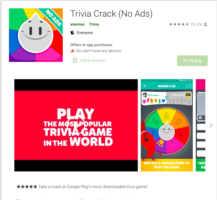 Fig. 4, Trivia Crack (No Ads) screenshot captured by Anastasia Voloshina, from the Google Play Store, 2021.