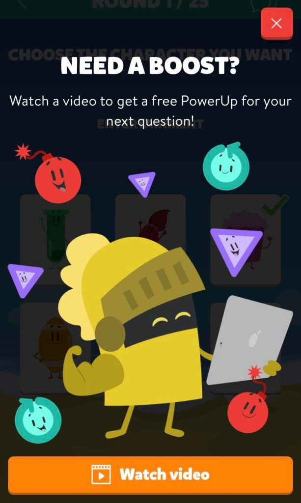 Fig. 2, power up video screenshot captured by Jamie Rotante, from the Trivia Crack app, Etermax, 2021.