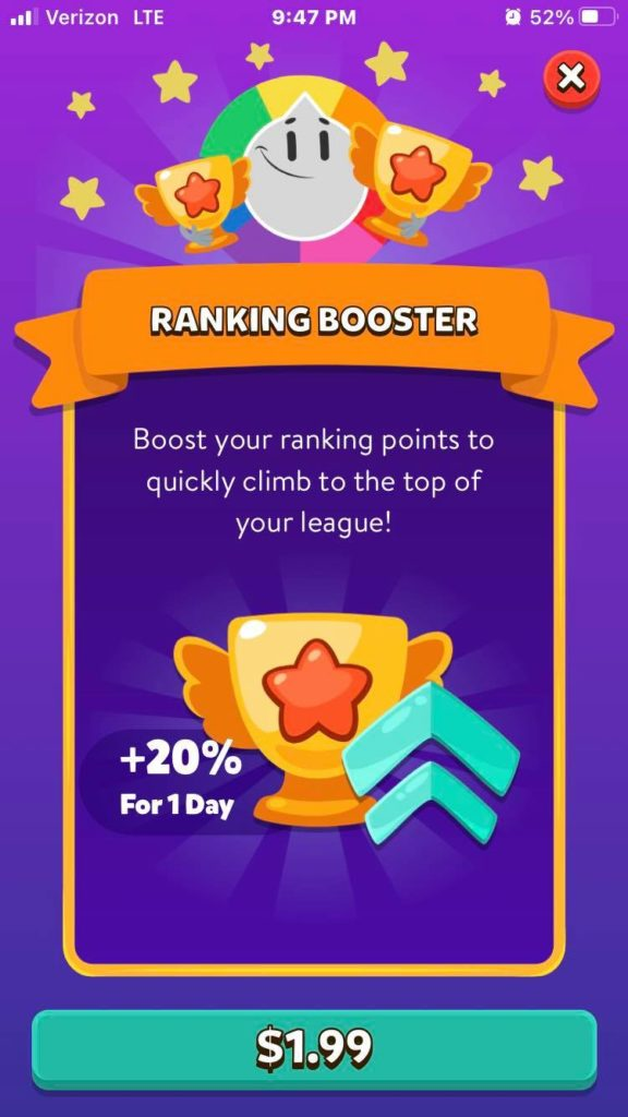 Fig. 4, Ranking booster screenshot captured by Jamie Rotante, from the Trivia Crack app, Etermax, 2021.