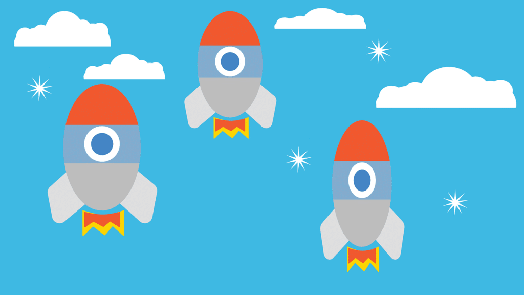 Illustration of three rockets in the sky.