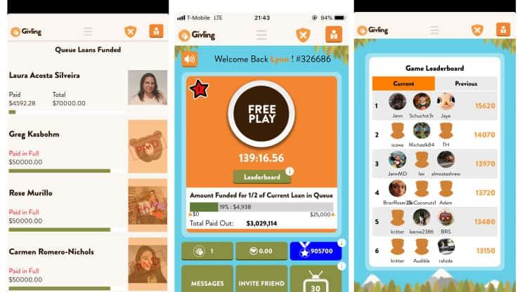 Givling app screenshots