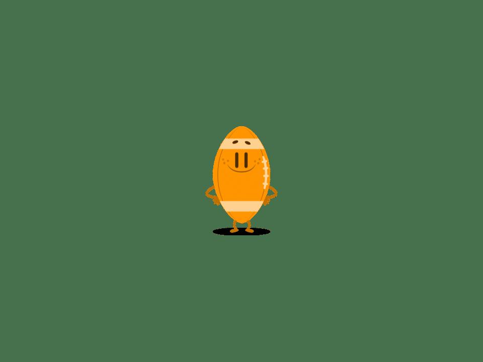 Trivia Crack character Bonzo, an orange football.
