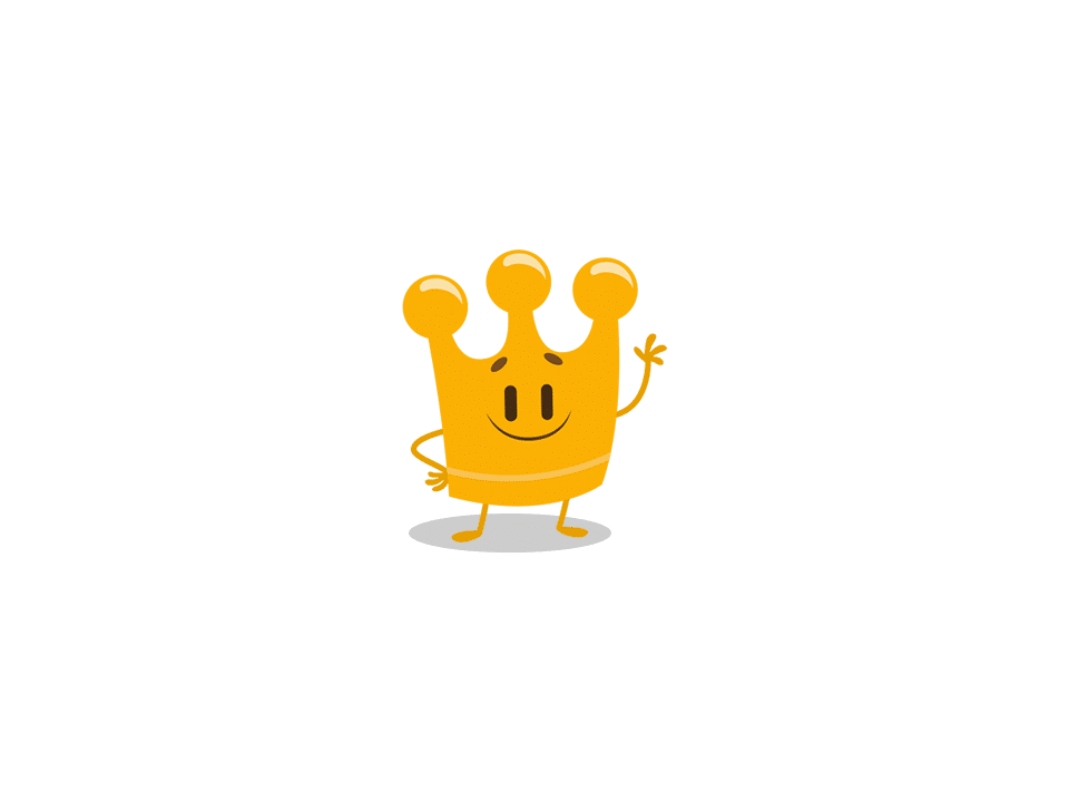 Trivia Crack character Albert, a gold crown.