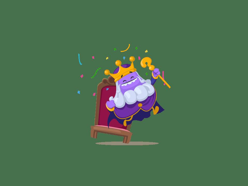 Trivia Crack Kingdoms character King Alex, a purple king.