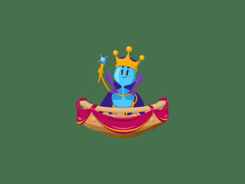 Trivia Crack Kingdoms character, a blue queen.