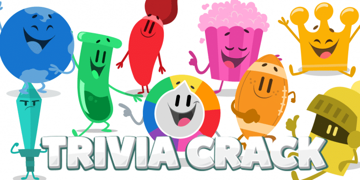 Various Trivia Crack characters and logo