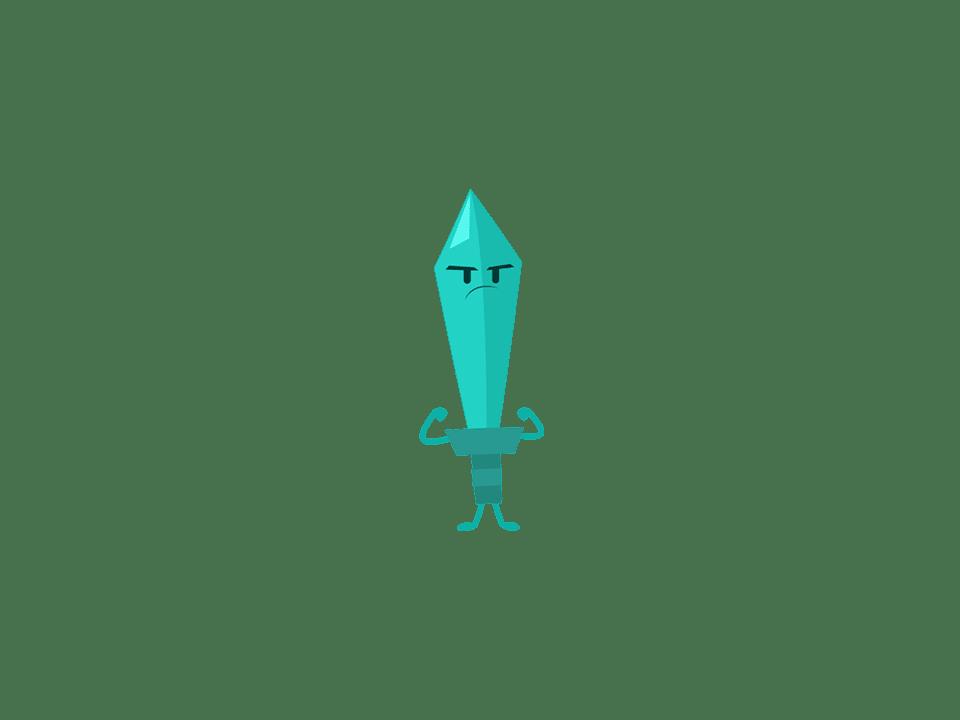 Trivia Crack character Rocky, a green sword.