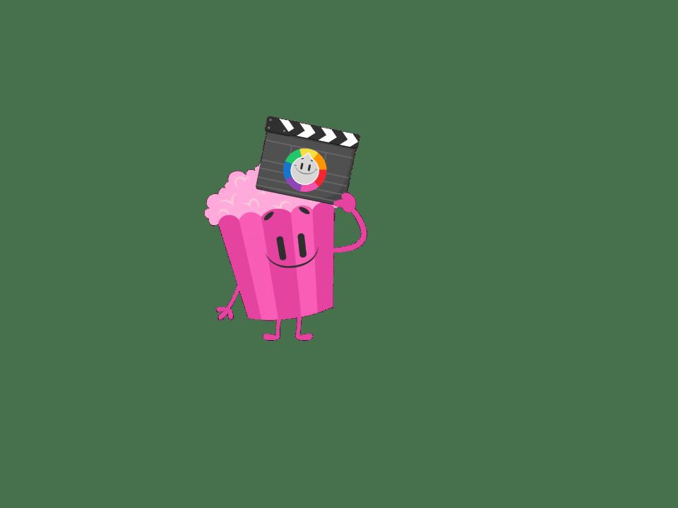 Trivia Crack character Pop, a pink bag of popcorn.