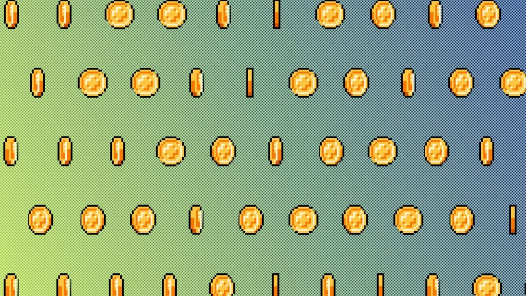 8-bit style gold coins
