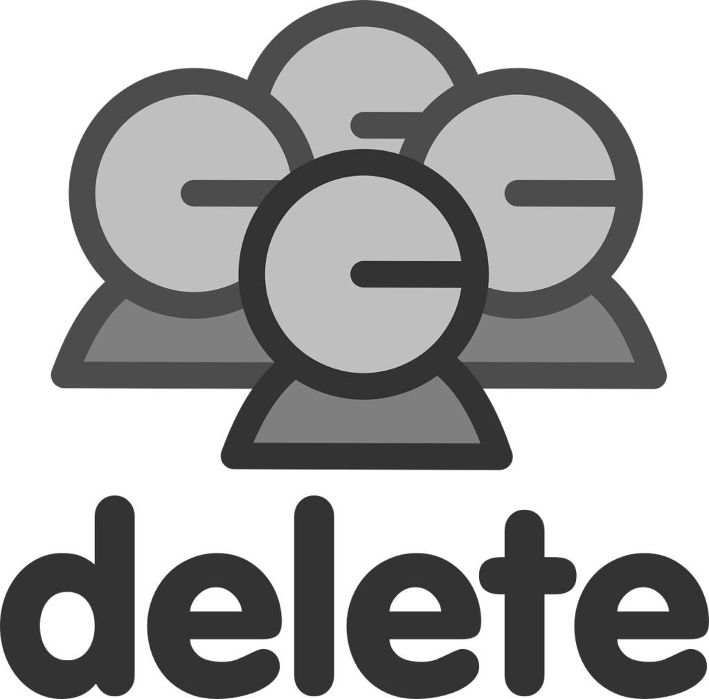 A simplistic grey drawing of people with the word delete under it