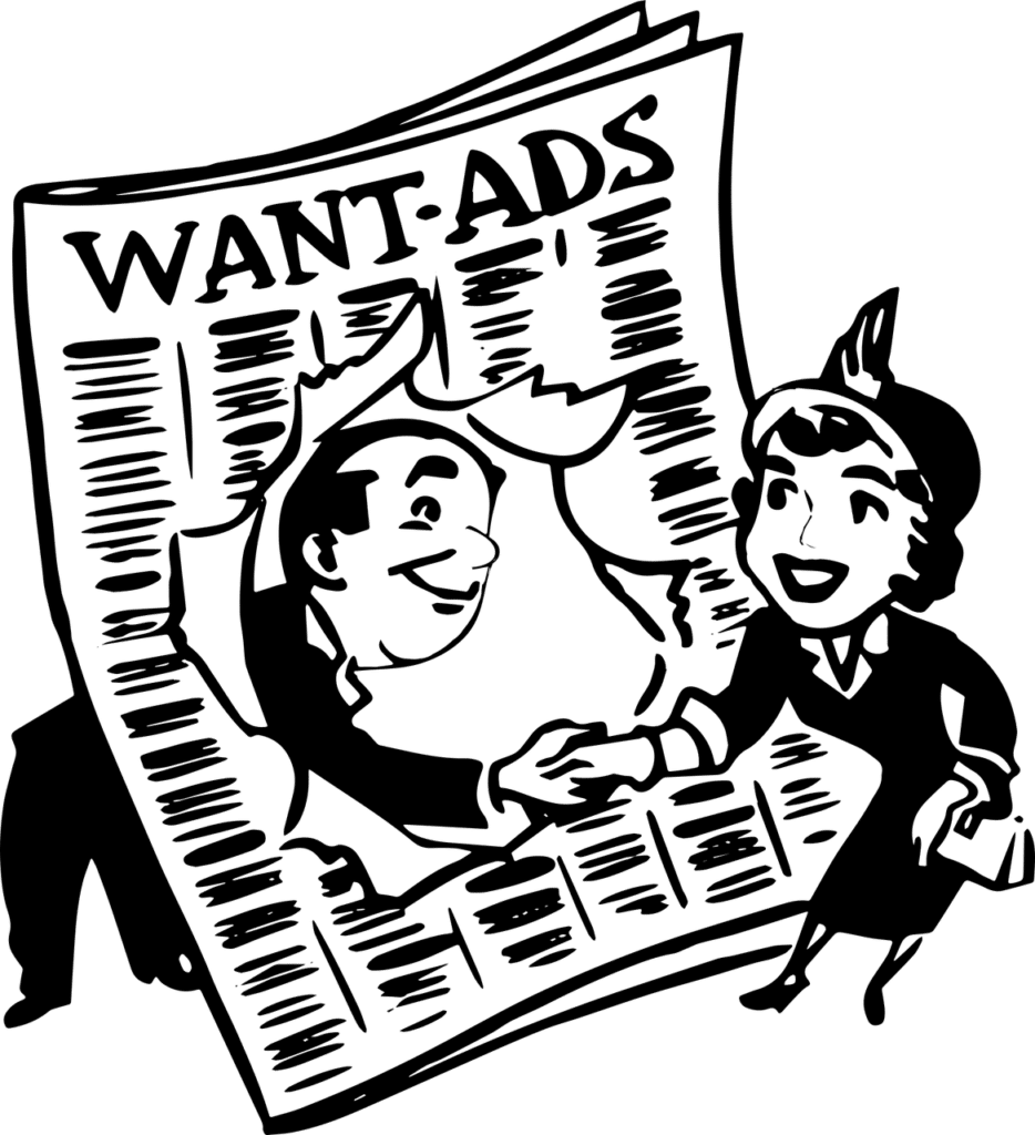 Fifties-style black and white illustration of a man and a woman meetings in the wanted ads.